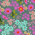 Playful LAWN 0016-21 Aqua Vintage Floral by Cotton + Steel