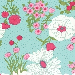 Color Me Happy 10820-13 Teal Flower Garden by V & Co for Moda