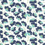 Color Theory 10830-15 Navy Poppies by V & Co for Moda