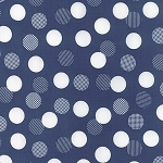 Color Theory 10833-15 Navy Dots by V & Co for Moda