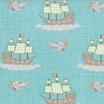 Storybook 13112-18 Aqua Pirates Planes by Kate & Birdie for Moda