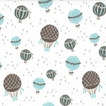 Storybook 13114-11 Aqua Hot Air Balloons by Kate & Birdie for Moda EOB