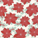 Winterberry 13140-11 Snow Poinsettia by Kate & Birdie for Moda