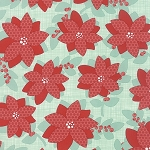 Winterberry 13140-12 Mint Poinsettia by Kate & Birdie for Moda