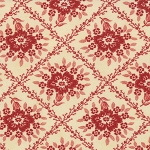 Midwinter Reds 14761-15 Cream Red Crosshatched Floral by Moda EOB