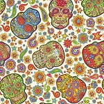Fabric Fiesta 2019-001 Multi Skulls on Cream by Dan Morris for RJR
