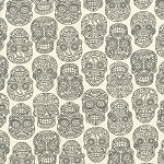 Fabric Fiesta 2022-001 Black/Cream Skulls by Dan Morris for RJR