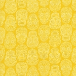 Fabric Fiesta 2022-003 Yellow Tonal Skulls by Dan Morris for RJR