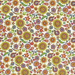 Fabric Fiesta 2024-001 Cream Floral by Dan Morris for RJR