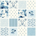 Symphony Rose Blue 25375 Blue Rose Squares by Red Rooster