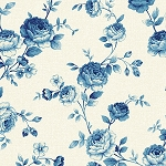 Symphony Rose Blue 25376 Light Blue Medium Floral by Red Rooster