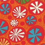 Mod Century 30510-17 Tangerine Atomic Starbursts by Jenn Ski for Moda EOB
