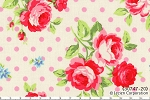 Flower Sugar 30747-20 Roses and Pink Dots on White