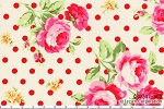 Flower Sugar 30747-30 Roses and Red Dots on White