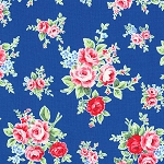 Flower Sugar Fall '13  30841-77 Lg Floral on Blue by Lecien