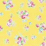 Flower Sugar Fall '13  30842-50 Roses & Dots on Yellow by Lecien