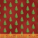 Paper Dolls Christmas 30864-2 Trees on Red by Windham FQ- EOB