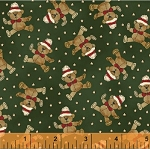 Paper Dolls Christmas 30867-4 Teddy Bears on Green by Windham EOB
