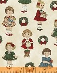 Paper Dolls Christmas 30868-1 Small Dolls on Cream by Windham EOB