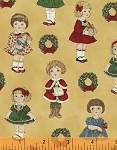 Paper Dolls Christmas 30868-5 Small Dolls on Gold by Windham  FQ- EOB