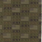 Because of the Brave 32953-15 Army Green Flags by Moda