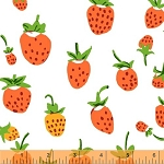 Briar Rose 37024-3 Orange Strawberry by Heather Ross for Windham