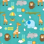Bungle Jungle 39501-13 Turquoise Critters by Tim & Beck for Moda