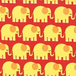 Bungle Jungle 39502-18 Red Elephants by Tim & Beck for Moda