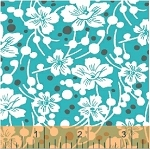 Mimosa 39982-4 Aqua Flowers and Pebbles by Windham