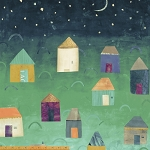 Story 40876-X Multi Houses Under the Newspaper Moon by Windham