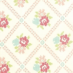 Vintage Picnic 55120-17 Cream Coral Mayberry Mum by Moda