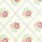 Vintage Picnic 55120-18 Cream Aqua Mayberry Mum by Moda