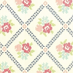 Vintage Picnic 55120-19 Cream Navy Mayberry Mum by Moda