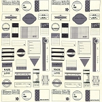 Handmade With Love Labels 5540-13 Grey Panel by Sweetwater for Moda