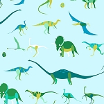 Natural History 7834-G Green Dinosaurs by Lizzy House for Andover