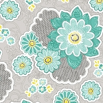 Sweet Harmony 9594-91 Aqua Large Floral by Henry Glass