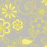Sweet Harmony 9595-94 Gray Yellow Floral by Henry Glass