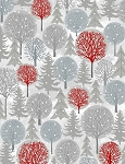 Holiday Cheer 9686-09 Gray Red Trees by Henry Glass