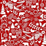 Holiday Magic 9799-88 Red Winter Motifs by Henry Glass