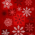 Holiday Magic 9803-88 Red Large Snowflakes by Henry Glass
