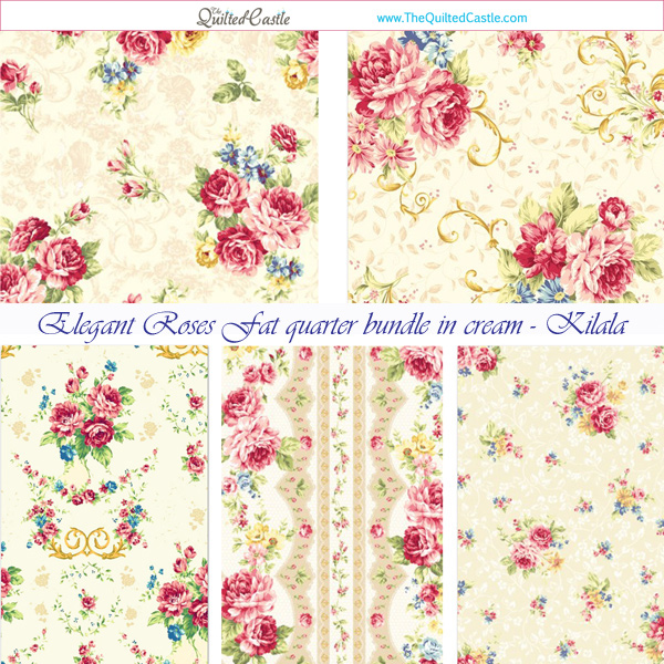 Elegant Roses Fat Quarter Bundle in Cream - Kilala Quilt Fabric