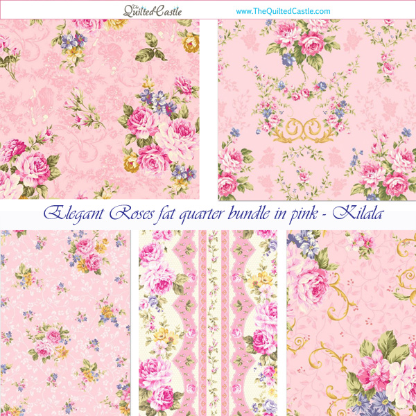 Elegant Roses fat quarter bundle in pink - Kilala Quilt Fabric