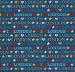 London 985-B Blue I Luv London by Makower UK EOB
