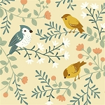 Acorn Trail Organic TW-12 Cream Birds & Branches by Birch
