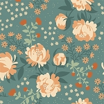 Acorn Trail Organic Teal Peonies by Teagan White for Birch