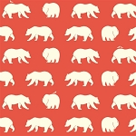 Bear Camp Organic Coral Bear Hike by Birch Fabrics