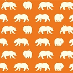 Bear Camp Organic Orange Bear Hike by Birch Fabrics