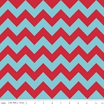 Chevron Medium C380-07 Aqua Red by Riley Blake