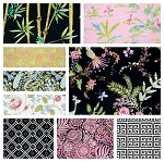 Chinoiserie Chic 9 Fat Quarter Set in Black by Free Spirit