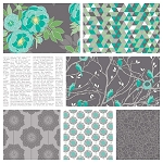 The Cottage Garden 7 Fat Quarter Set in Gray by Riley Blake
